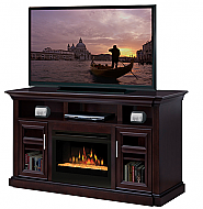 "66"" Dimplex Bailey Espresso Glass Entertainment Center Fireplace"