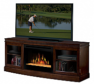 "66.4"" Dimplex Wickford Walnut Glass Entertainment Center Fireplace"