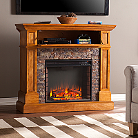"45.5"" Rosedale Stone Look Convertible Electric Media Fireplace - FE9345"