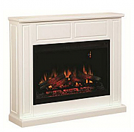 "48"" ClassicFlame Semi-Gloss White Traditional Design Paintable Builder's Mantel - 36WM2384-T401"