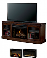 "66.4"" Dimplex Wickford Burnished Walnut Media Console Fireplace"