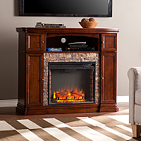 "47.5"" Hillcrest Faux Stone Electric Media Fireplace - Espresso - FE9356"