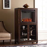 "32.5"" Allman Electric Fireplace Storage Tower - Celia Espresso - FE9834"
