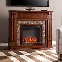 "48"" Highgate Faux Stone Electric Media Fireplace - Whiskey Maple - FE9321"