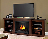 "74.7"" Hawthorne Dark Espresso Entertainment Center Gel Fireplace"