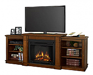 "74.7"" Hawthorne Burnished Oak Entertainment Center Electric Fireplace"