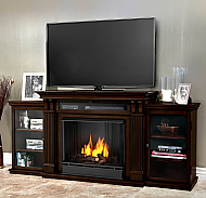 "67"" Ashley Dark Walnut Entertainment Center Gel Fireplace"