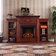 "70.25"" Holly & Martin Fredricksburg Electric Fireplace w/ Bookcases-Mahogany"