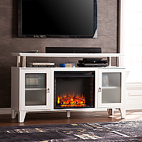 "60"" Cabrini Media Electric Fireplace - White - FE9349"