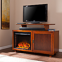 "51.25"" Hadley Walnut / Espresso Electric Media Fireplace - FE9338"