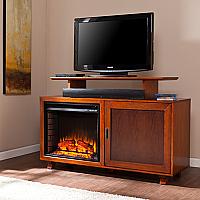 """51.25"""" Hadley Walnut / Espresso Electric Media Fireplace - FE9338"""