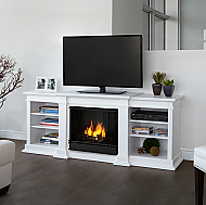 "72"" Fresno?Indoor White Gel Media Fireplace"