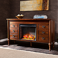 "60"" Haverford Whiskey Maple Electric Fireplace Console - FE9683"