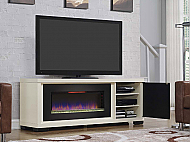 "70"" Brickell Infrared Antique White Media Mantel Electric Fireplace - 47IMM4931-T406"