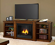 "74.7"" Hawthorne Burnished Oak Entertainment Center Gel Fireplace"
