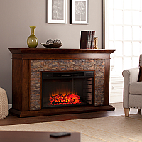 """60"""" Canyon Heights Simulated Stone Electric Fireplace - Whiskey Maple - FE9023"""