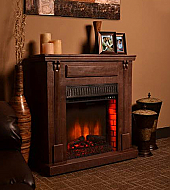 "41.7"" Bond Rustic Dark Wood Electric Fireplace"