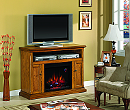 47.25 Cannes Antique Oak Entertainment Center Electric Fireplace - 23MM378-O103