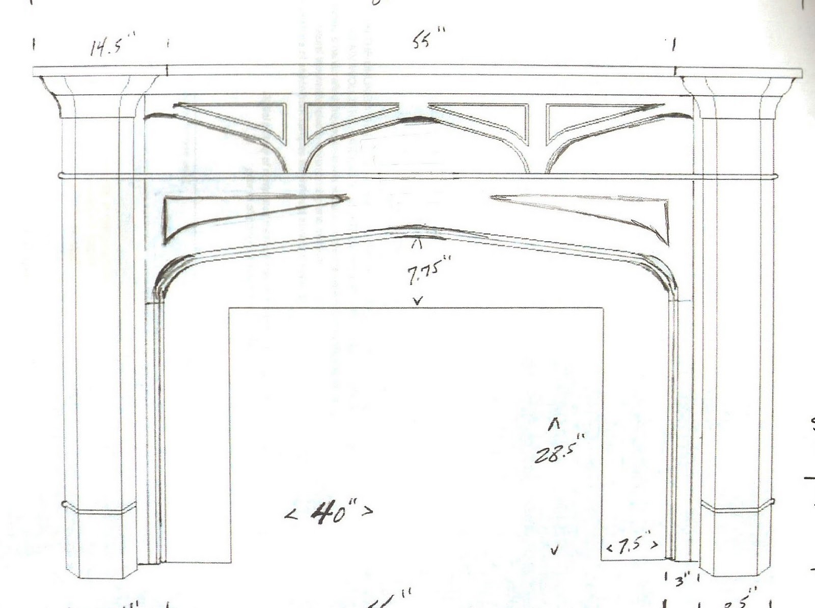 DIY Fireplace Mantel Sketch