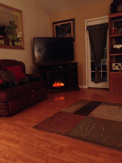 Electric Fireplace TV Stand with Glowing Logs
