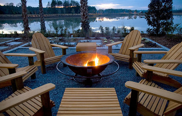 Lake House Outdoor Fire Pit Adirondack Chairs