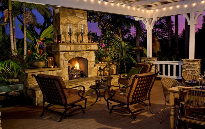 Outdoor Gas Fireplace Tropical