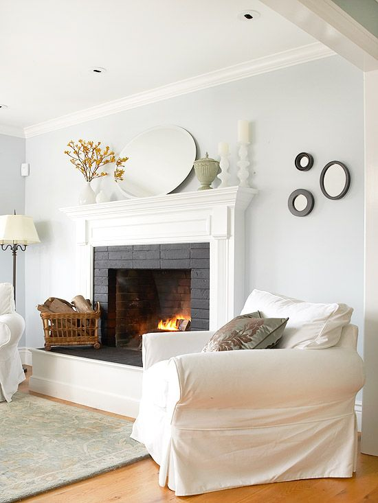 White Interior with White Fireplace
